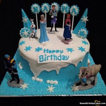 Peachy Frozen Birthday Cake Beautiful Frozen Themed Cake Birthday Cards Printable Benkemecafe Filternl