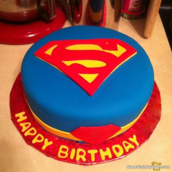 superman happy birthday cake